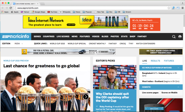 best sites to watch cricket world cup 2015 online for free - espncricinfo