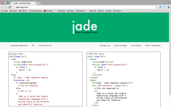 best node.js tools for year 2015 - jade-lang