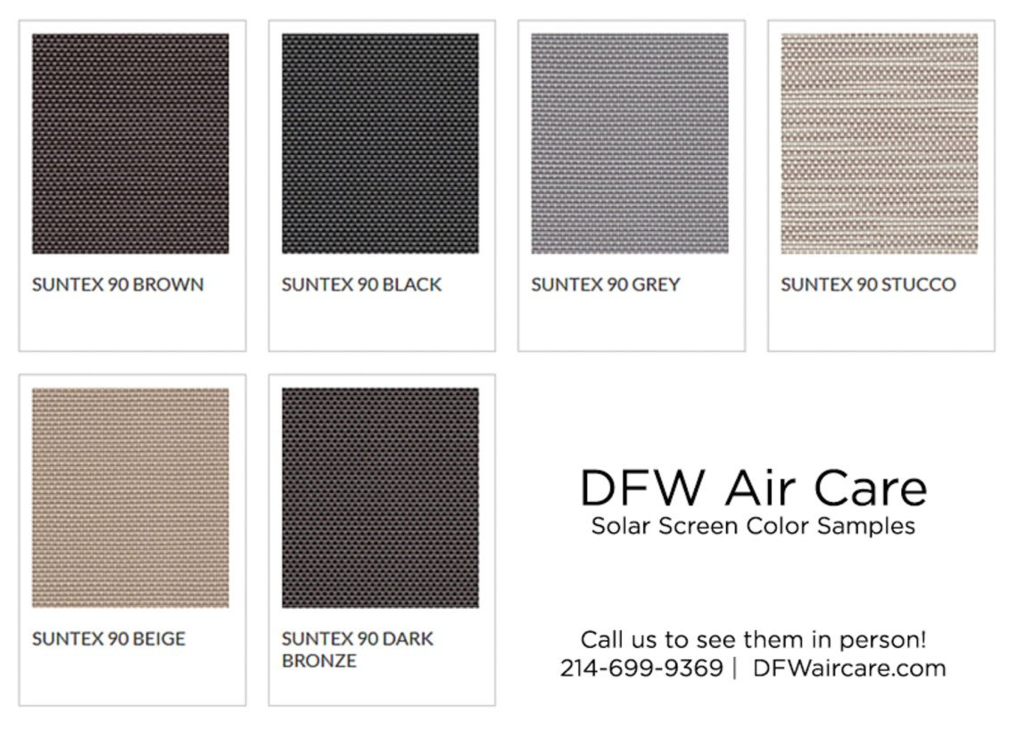 SunTex dallas solar screen installation color options