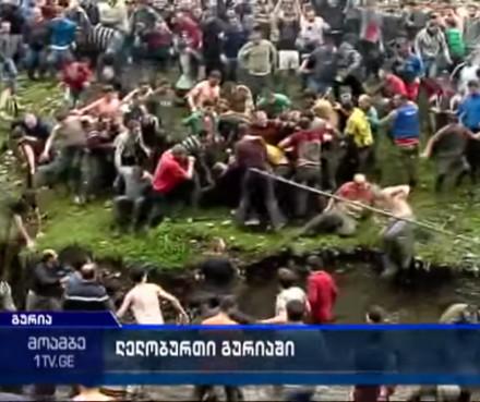 Crowd of people pushing