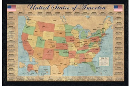 black wooden framed the 50 states of america, united