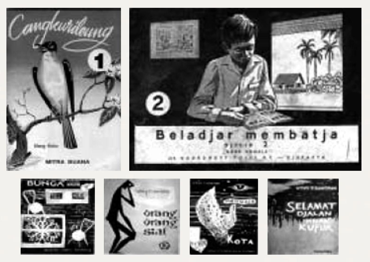 "Gambar 8. (a) Kulit muka buku ""Cangkurileung"" digambar oleh Nanang Durachman tahun 1960-an, dicetak ulang hingga lima kali; (b) Kulit muka buku ""Beladjar Membatja"" untuk siswa sekolah dasar dicetak tahun 1953; (c, d, e & f) Kulit muka sejumlah buku yang terbit tahun 1960 dengan ilustrasi bergaya ""Jengki""."