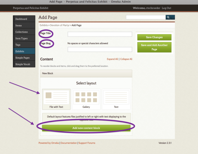 Type title, slug, and select layout for your page
