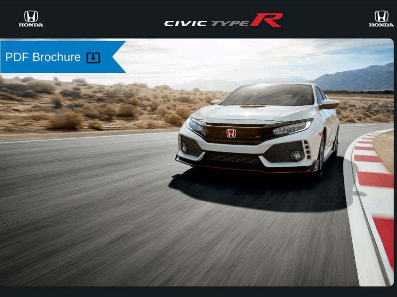 2019  2018 Honda Brochures   Patty Peck Honda Research 2018 Honda Civic TypeR Brochure img