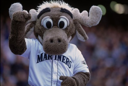 Seattle Mariners mascot The Moose waves to fans