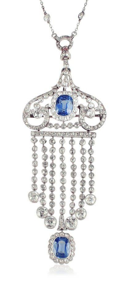 Edwardian sapphire and diamond tassel pendant/brooch