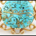 Art Nouveau gold and Iranian turquoise necklace.