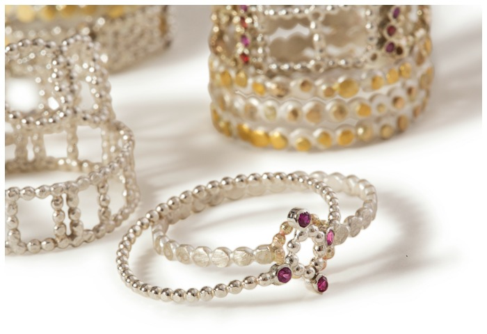 Handmade mixed-metal rings by Sophie Ratner jewelry.