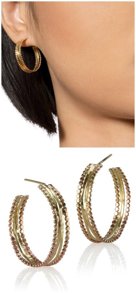 The Sophie Ratner Luner earrings. Handmade in 18k and 14k gold.