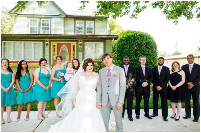 With our amazing wedding party outside the Vandiver Inn. Photography by Angel Kidwell.