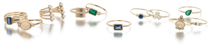 Rings by Jennie Kwon - all sorts, in rose and yellow gold, some with diamonds and gemstones. Perfect for layering!