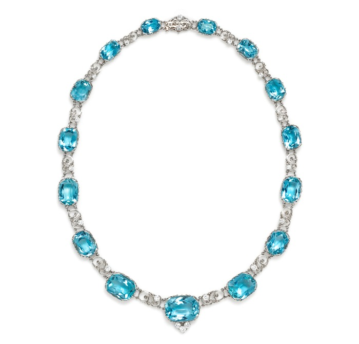 An incredible Edwardian era Tiffany & Co. necklace believed to be the work of Louis Comfort Tiffany. Circa 1915, with 132.52cts of aquamarine and 3.18 cts of diamonds. In Leslie Hindman's September jewelry sale.