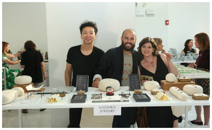 Becky Stone of Diamonds in the Library visiting with the Kataoka team at Metal and Smith on September 19th.