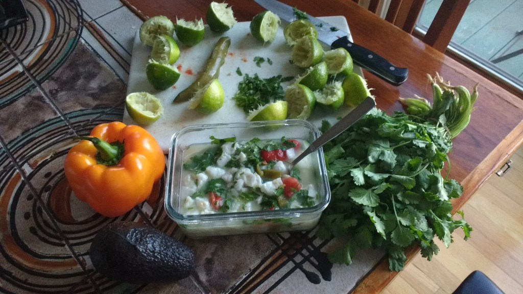 Preparing ceviche