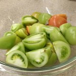 Quartered green tomatoes