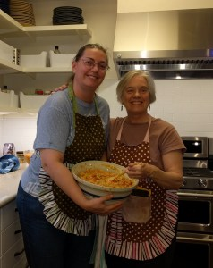 Relish making with my neighbor, Suzanna