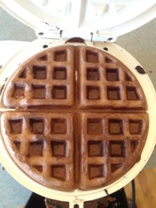 Finished chocolate waffles on waffle iron
