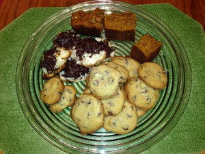 Pumpkin bread, coconut macaroons and chocolate chip cookies. But how long would they last?