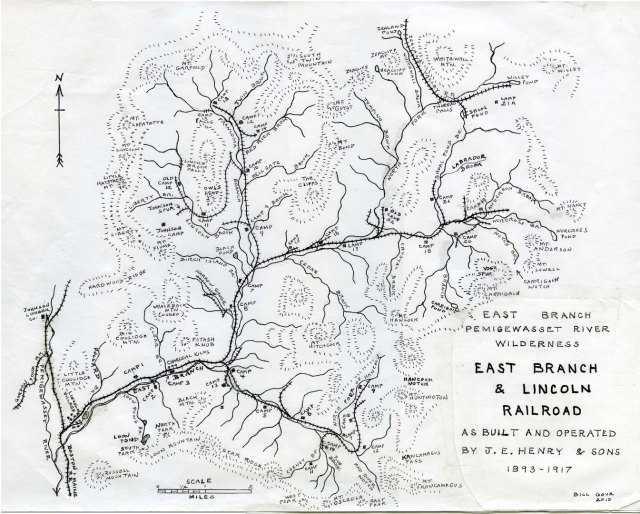 Bill Gove's map of the East Branch & Lincoln Railroad lines in the Pemi Wilderness.  The entire area was systematically stripped of its forest circa 1892-1907.