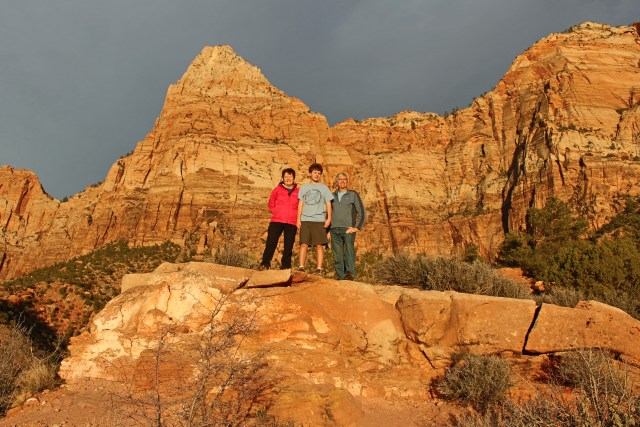 "Twlight view of The Watchman, a warm-up hike we did upon arriving at Zion, with the trailhead right behind the Visitor's Center.  On this February visit, we saw one other party here at the party -- the advantage of visiting Zion off-season. However, being President's Day weekend, the park was busy, and on Sunday, we were ""gated out"" of Zion Canyon because the canyon had reached its car capacity (we did get in later that afternoon)."