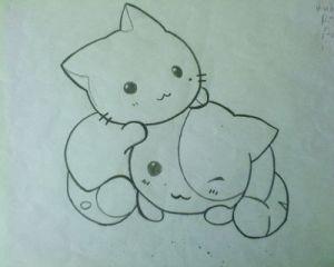 Dibujos a lapiz de gatos (7)