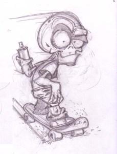 Dibujos a lápiz de calaveras y huesos (10)