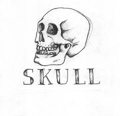Dibujos a lápiz de calaveras y huesos (9)