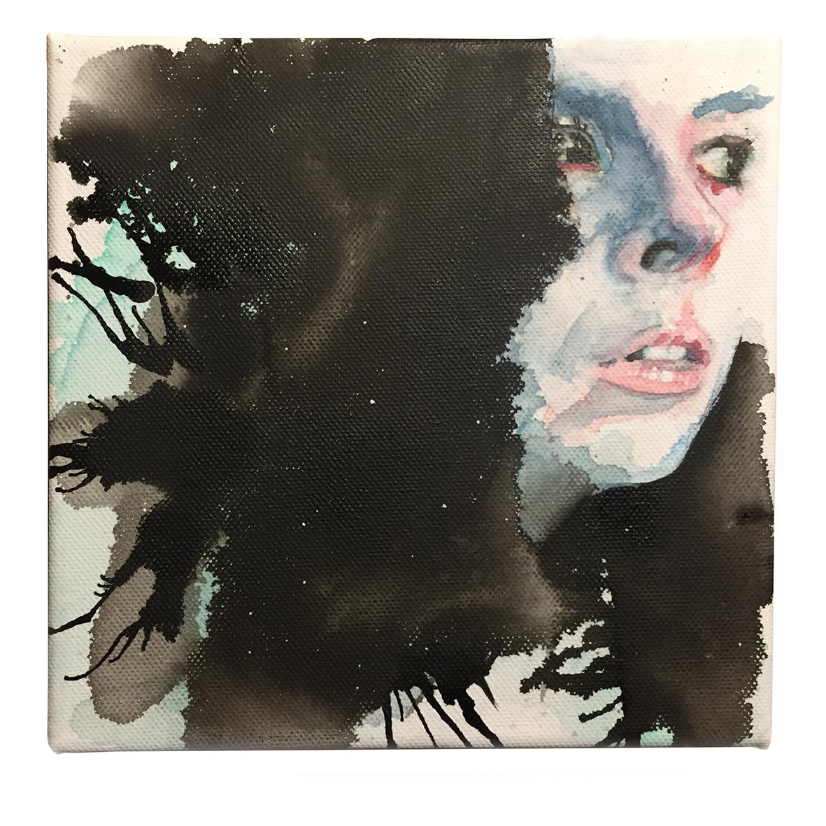 "die artige / ""Katerina"", 15cm x 15cm, Aquarellfarbe und Tinte auf Leinwand"