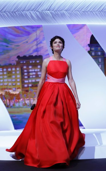 Mistress of Ceremony actress Audrey Tautou arrives on stage during the closing ceremony of the 66th Cannes Film Festival