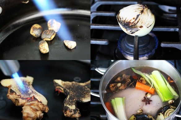 charring and boiling pho