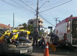 Motociclista fica ferido após acidente na Av.São Roque em Bento
