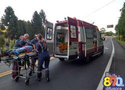 Motociclista fica ferido em acidente na BR 470 em Bento