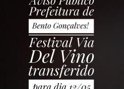Mau tempo transfere a 1ª edição do Festival Via Del Vino em Bento