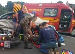Acidente deixa três pessoas levemente feridas na BR-470 em Garibaldi