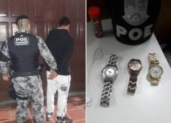 POE prende homem com objetos de roubo em Bento