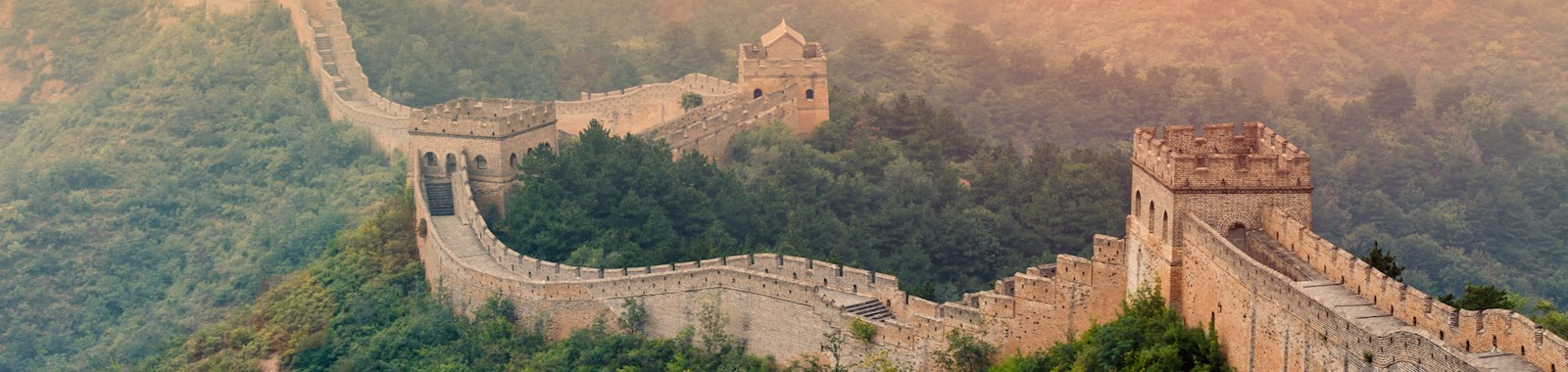 majestic spectacular Great Wall of China in the sunset