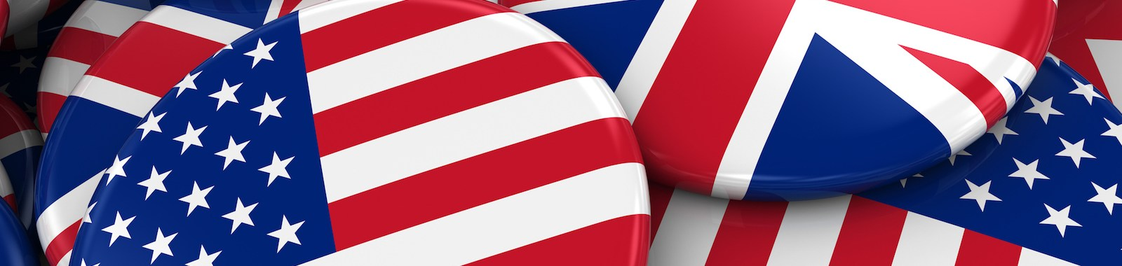 Flag Badges of America and Britain in Pile - Concept image for US and UK Relations