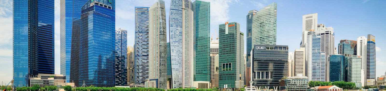 Beautiful landscape of Singapore city in sunny day.