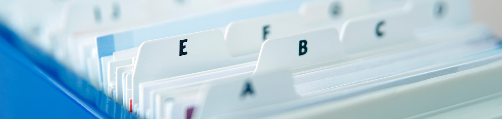 Alphabetical Index Cards In File Cabinet