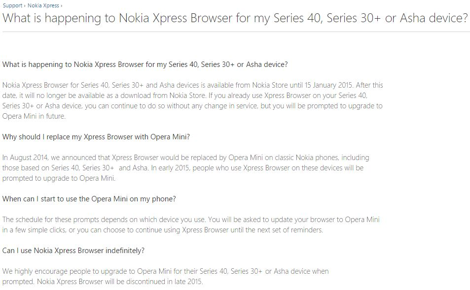 Nokia Xpress Browser stops working