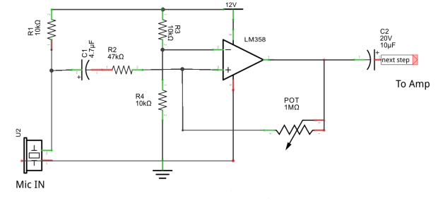 microphone pre amplifier using LM358