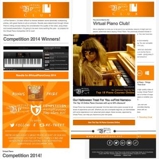 Email Newsletter Campaigns for online piano app, Virtual Piano