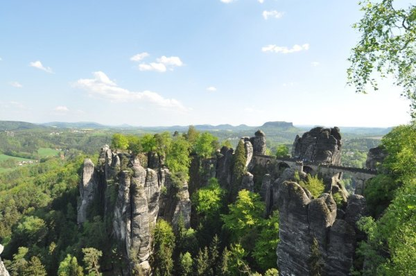 Full view of the Bastei Bridge in the Saxon Switzerland National Park