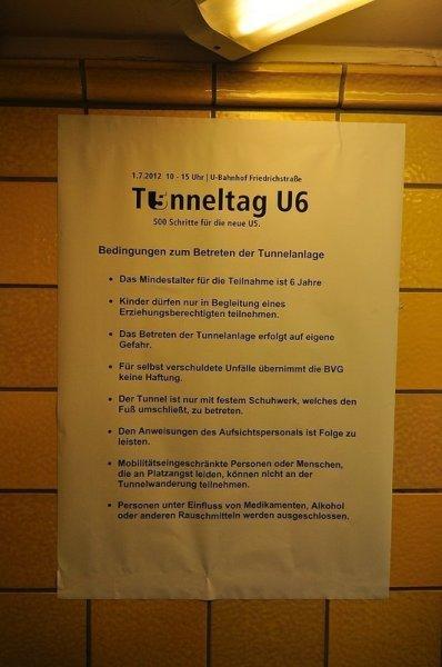 Berlin BVG U6 Tunneltag bedingungen