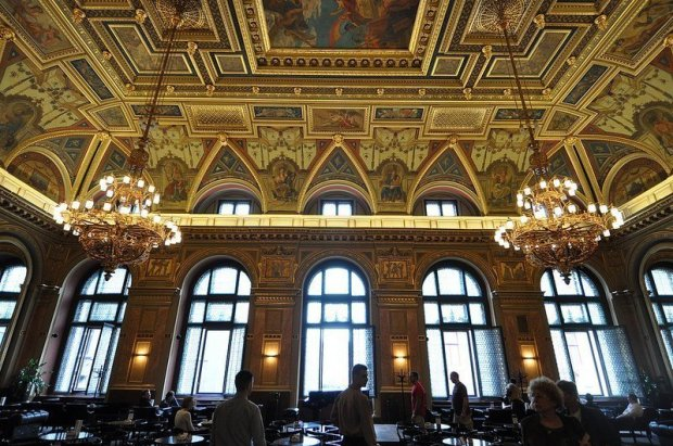 entrance chandeliers alexandra bookcafe budapest hungary