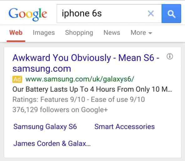samsung iPhone 6S S6 Google Ad Smart Marketing AdWords