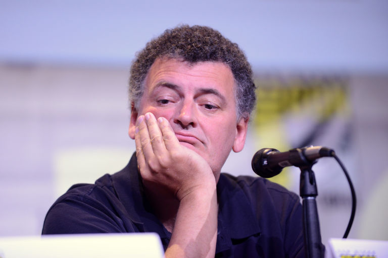 Steven Moffat looking bored and unimpressed at Comic-Con 2016