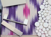 material palette purple and magenta fabric with white and stainless hard surfaces