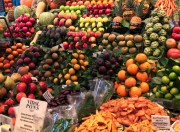 Colorful fruit at La Boqueria food market in Barcelona