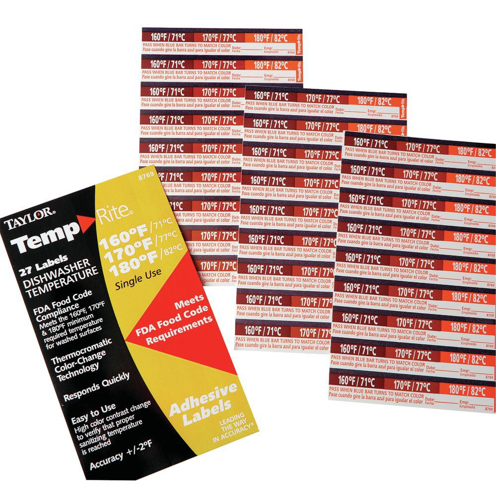 Taylor TempRite Paper 3 In 1 Dishwasher Labels LABEL  TEMP RITE  160 170 180 DEGREE 27 PK
